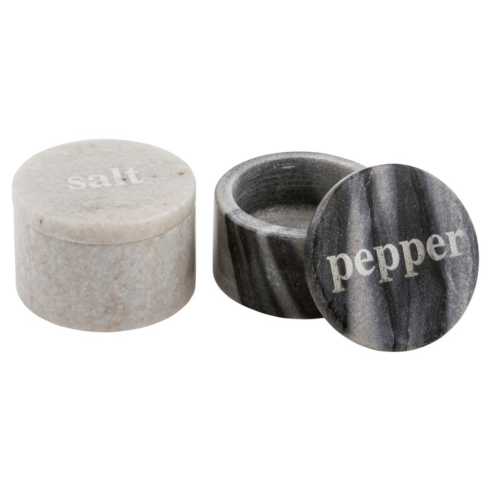 Thirstystone Marble Salt and Pepper Pinch Set, Black/White