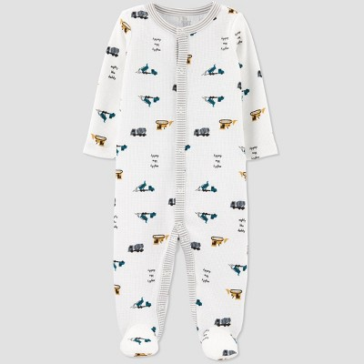 Baby Boys' Construction Thermal Sleep N' Play - Just One You® made by carter's White Newborn