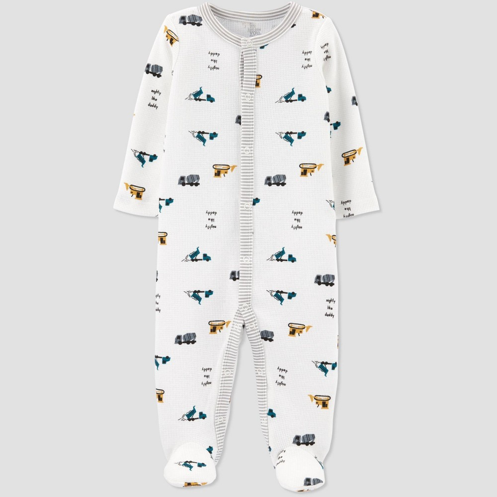 Image of Baby Boys' Construction Thermal Interlock Sleep 'N Play - Just One You made by carter's White 9M, Boy's