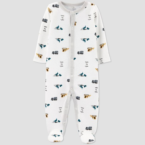 Baby Boys' Construction Thermal Interlock Sleep 'N Play - Just One You® made by carter's White - image 1 of 1