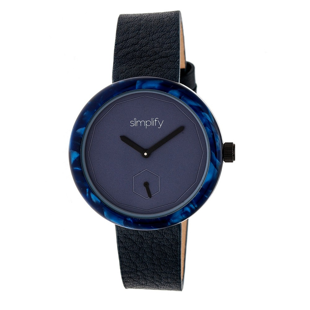Simplify The 3700 Men's Leather-Band Watch - Black/Brown