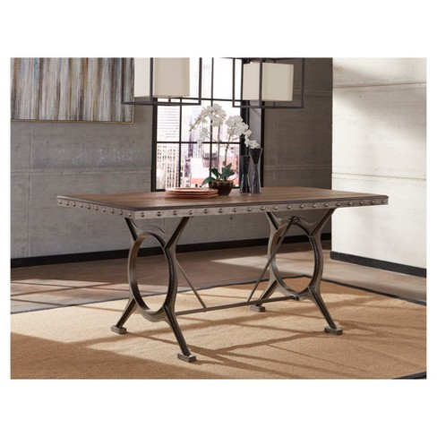Paddock Wood And Metal Counter Height Dining Table Brushed Steel