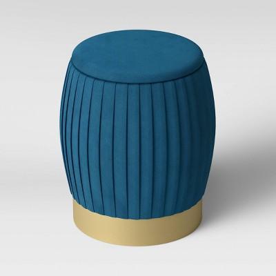 Sachsia Pleated Velvet Ottoman With Brass Base - Opalhouse™ : Target