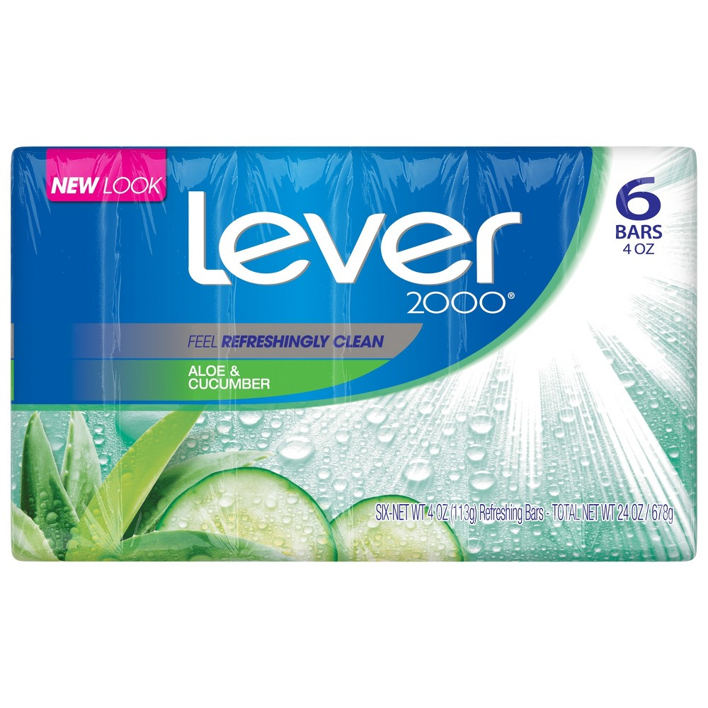 Image of Lever 2000 Aloe & Cucumber Scent Bar Soap - 4oz/6ct