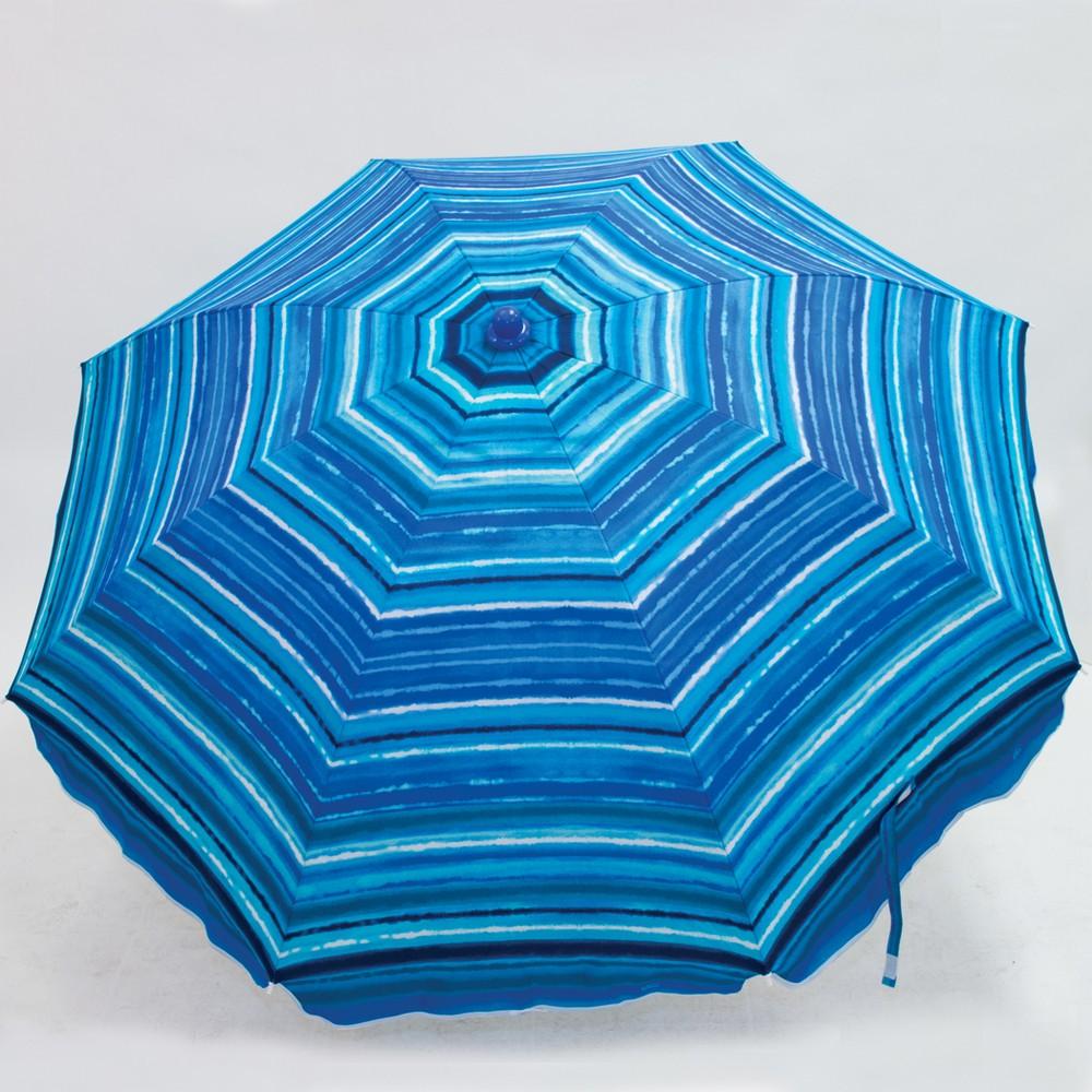 6'x6' Patio Beach Umbrella - Blue Stripe - Evergreen, Tropical Leaves
