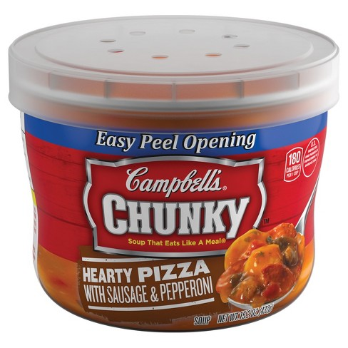 Campbell's® Chunky™ Hearty Pizza with Sausage & Pepperoni Soup Microwaveable Bowl 15.2 oz - image 1 of 5