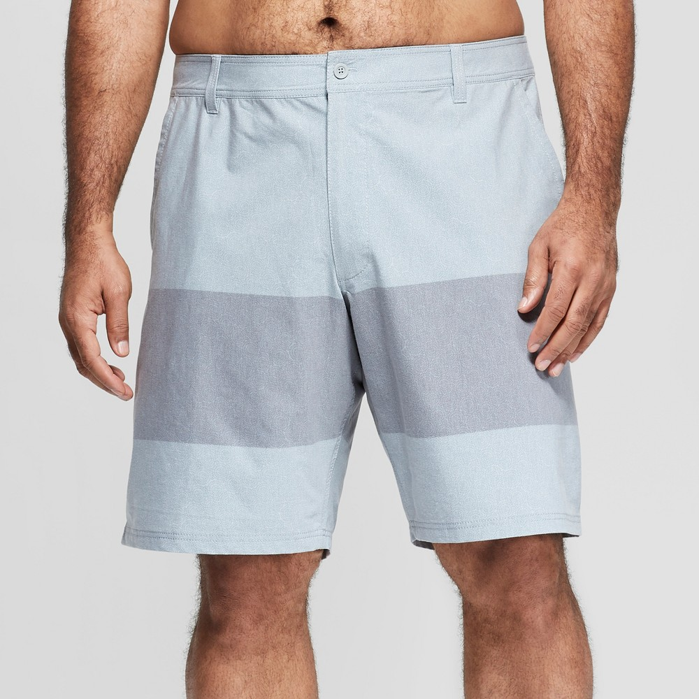 Men's Big & Tall 10.5 Striped Hybrid Swim Shorts - Goodfellow & Co Gray 50