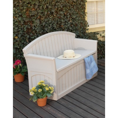 Patio Storage Bench 50 Gallon - Taupe - Suncast, Brown