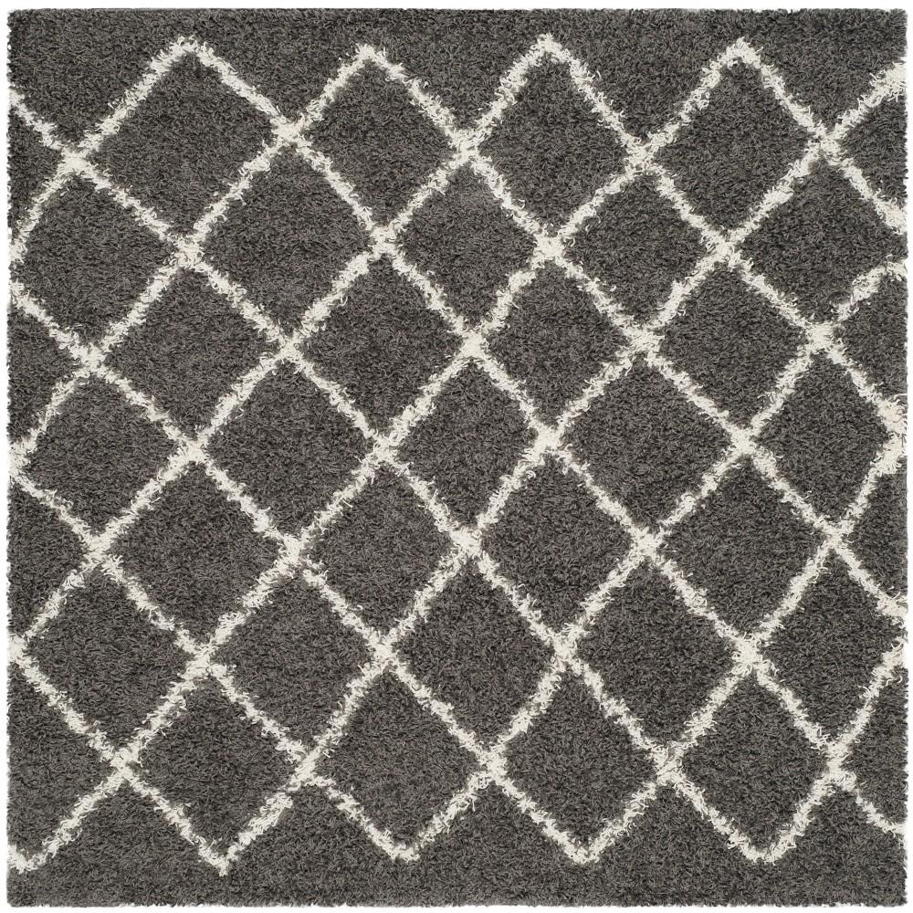 6X6 Geometric Loomed Square Area Rug Dark Gray - Safavieh Discounts