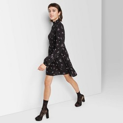 Women's Floral Print Long Sleeve High Neck Smocked Floral Dress - Wild Fable™ Black