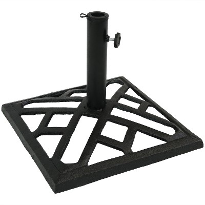"Modern Geometric Cast Iron Outdoor Umbrella Base 15.5"" Square - Sunnydaze Decor"