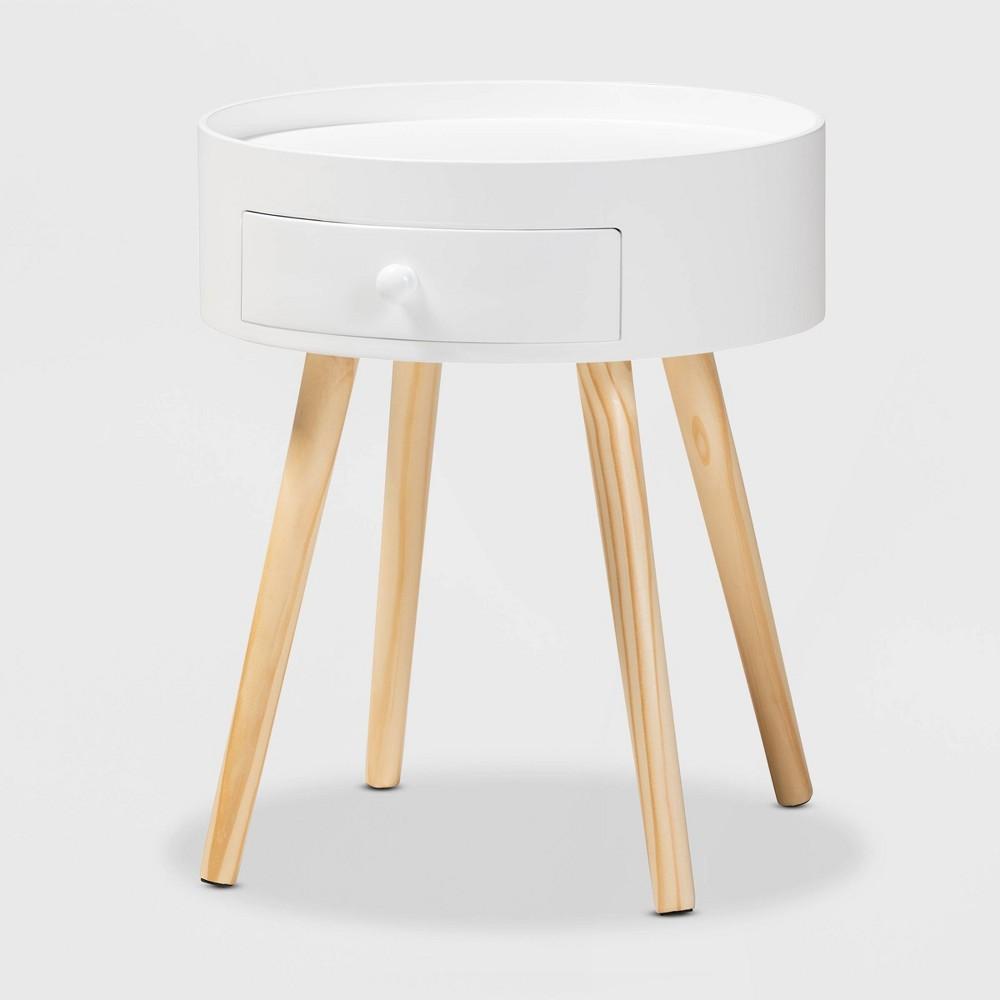 Image of 1 Drawer Jessen Wood Nightstand White - Baxton Studio