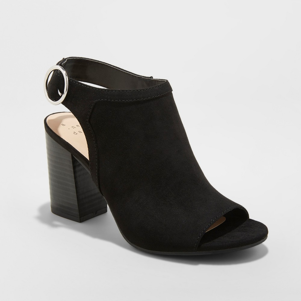 Women's Rhea Open Toe Stacked Heeled Pumps - A New Day Black 6