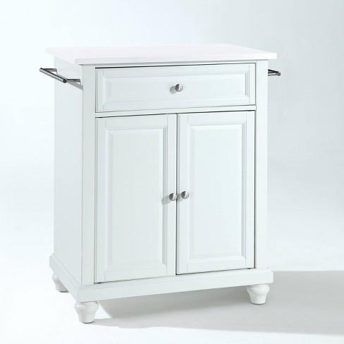 Cambridge Granite Top Compact Kitchen Island Cart White - Crosley