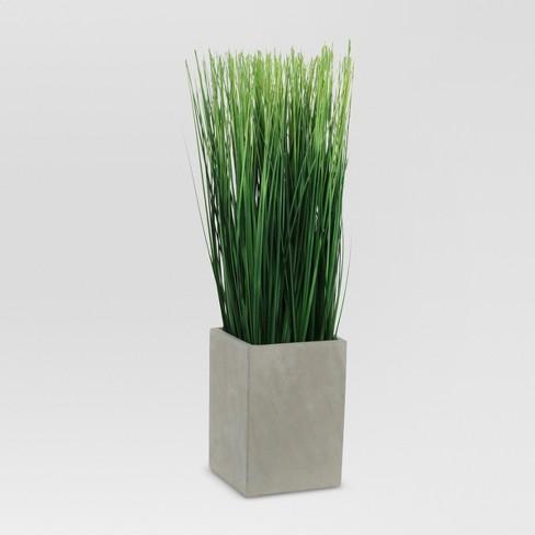 Artificial Grass In Rectangular Ceramic Pot Medium Threshold