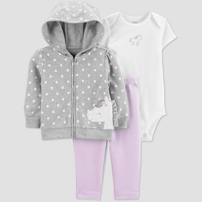 Baby Girls' 3pc Unicorn Cardigan Set - Just One You® made by carter's Gray/White/Purple 6M