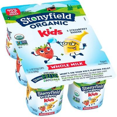 Stonyfield Organic Kids' Strawberry Banana Whole Milk Yogurt - 6ct/4oz Cups