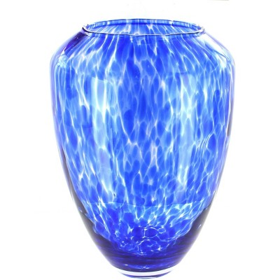 Blue Rose Polish Pottery Cobalt Confetti Large Glass Vase