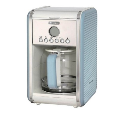 Ariete Vintage Kitchen Countertop 12 Cup Automatic Programmable Brew Timer Coffee Maker Machine, Blue