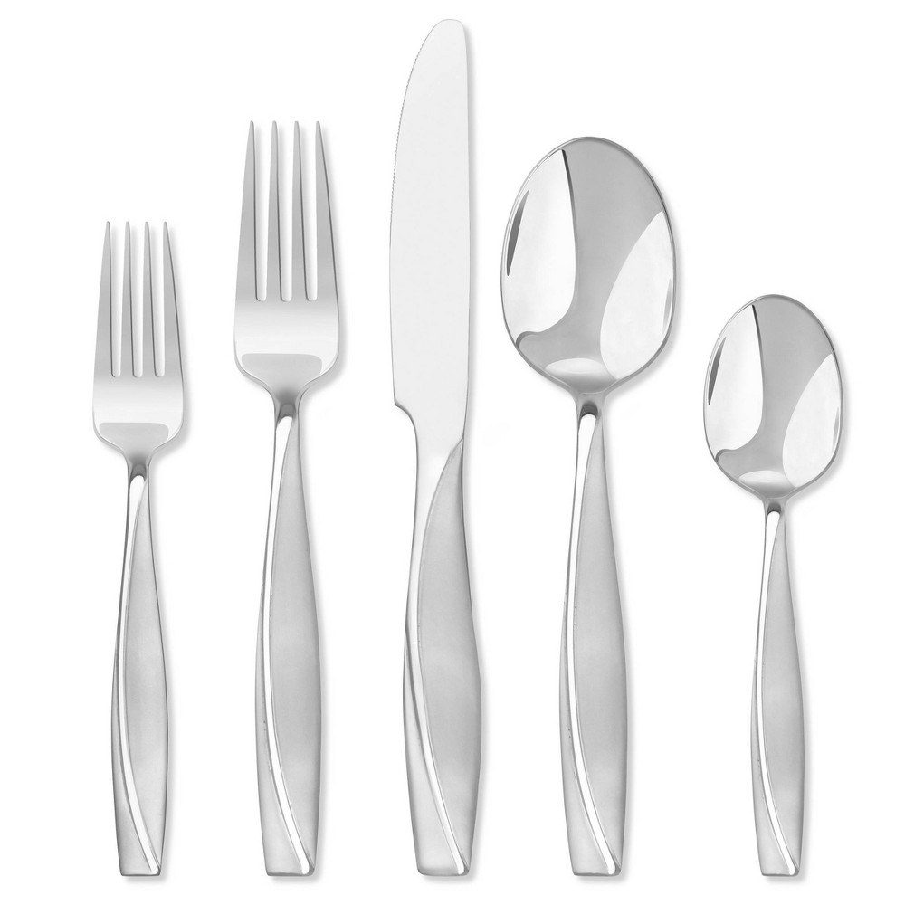 Image of Hampton 20pc Stainless Steel Forge Londontown Frosted Silverware Set