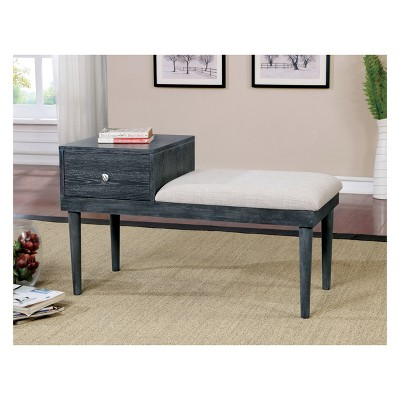 Beau Luce Mid   Century Modern Storage Bench Weathered Gray   HOMES: Inside + Out