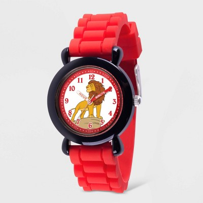Kids' Disney New Lion King Plastic Time Teacher Silicon Strap Watch - Red