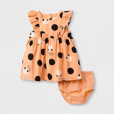 Baby Girls' Sleeveless Poplin Dot Bow Dress - Cat & Jack™ Orange 0-3M