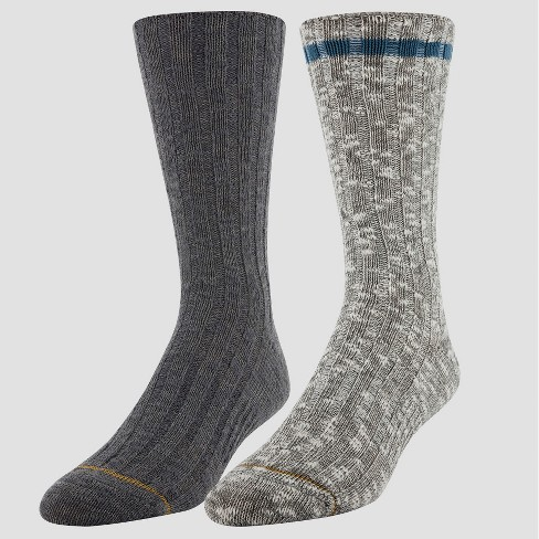 Signature Gold by GOLDTOE Men's Cotton Rag Camp Crew Socks 2pk - Gray 10-13 - image 1 of 2
