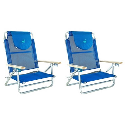 Ostrich SBSC-1016B South Adult Beach Lake Sand Lounging Chair, Blue (2 Pack)