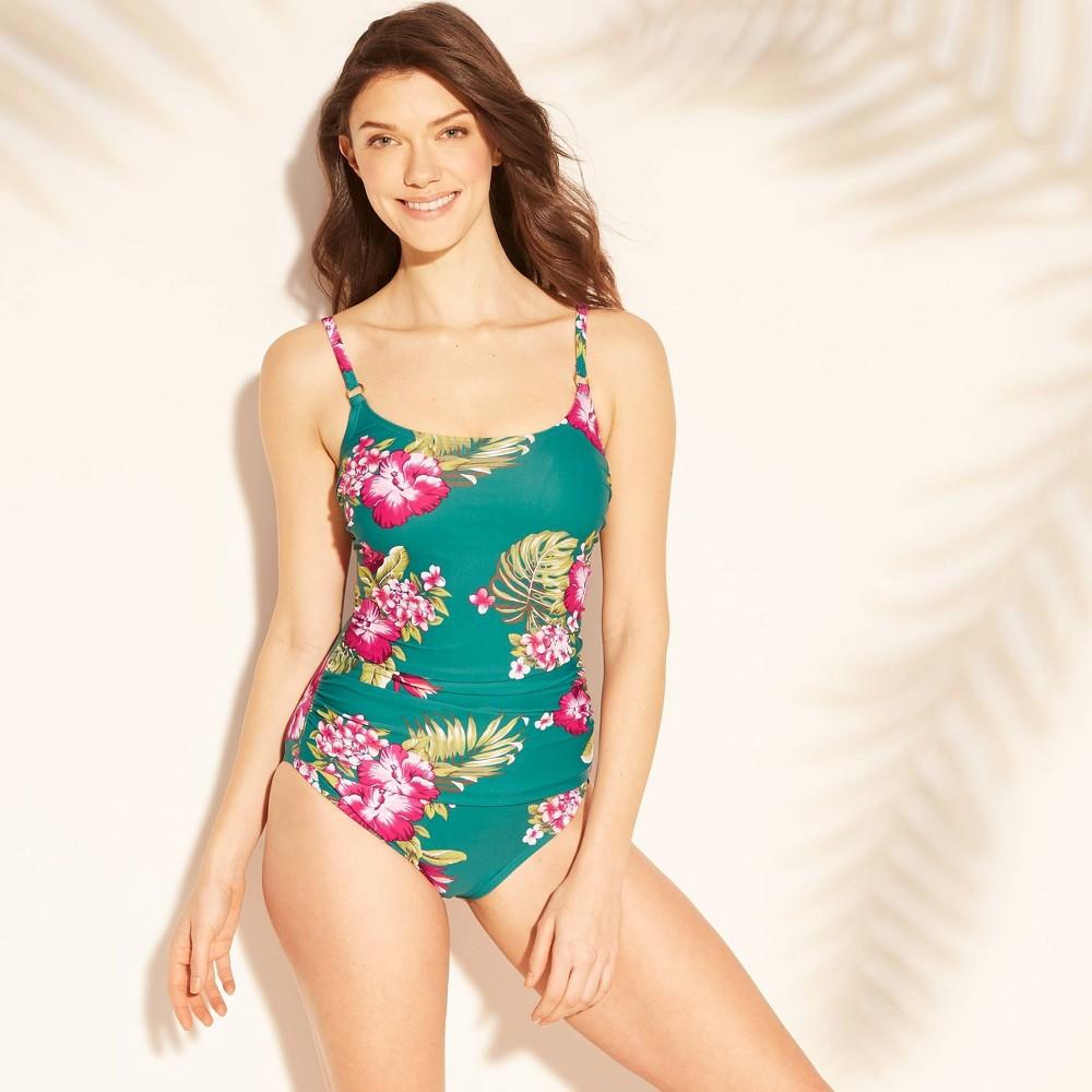 Women's Strappy Back One Piece Swimsuit - Kona Sol Woodsy Green XS