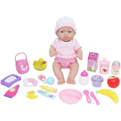 "JC Toys Deluxe La Newborn 12"" Doll All Vinyl Nursery 25 Piece Gift Set"