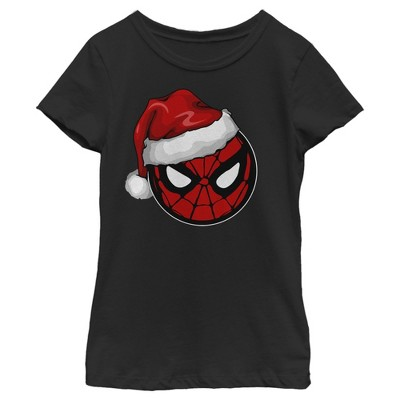 Girl's Marvel Christmas Spider-Man Santa Hat T-Shirt