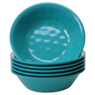 Certified International Solid Color Melamine Bowls 22oz Teal - Set of 6