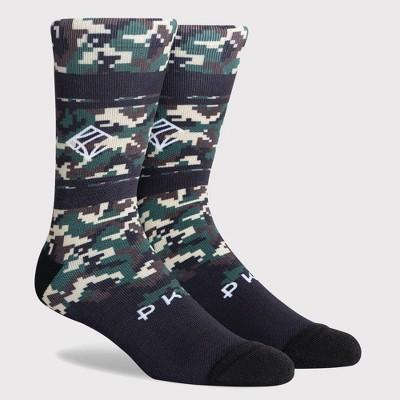 PKWY by Dwyane Wade Men's Crew Socks -  Camouflage Khaki/Black L