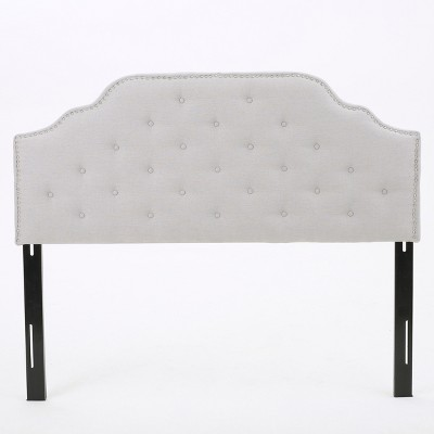 Silas Studded Upholstered Headboard - Full/Queen - Light Grey - Christopher Knight Home