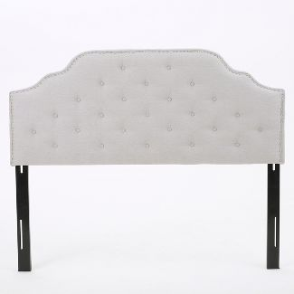 Silas Studded Upholstered Headboard - Full/Queen - Light Gray - Christopher Knight Home