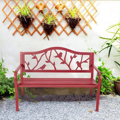 Metal Patio Bench with Steel Frame - Red - Captiva Designs