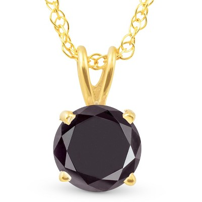 Pompeii3 1 Ct Black Diamond Solitaire Pendant Necklace 14k Yellow Gold