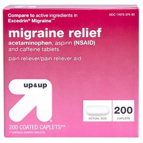 Acetaminophen (NSAID) Migraine Relief Pain Reliever Coated Caplets - 200ct - Up&Up™ (Compare to active ingredients in Excedrin Migraine) - image 1 of 4