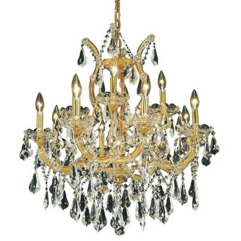 Elegant Lighting 2801d27g Maria Theresa 13 Light Two Tier Crystal Chandelier Finished In Gold