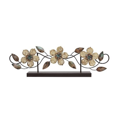 "20"" x 6.1"" Stamp Wood Flower Table Top - Stratton Home Décor"