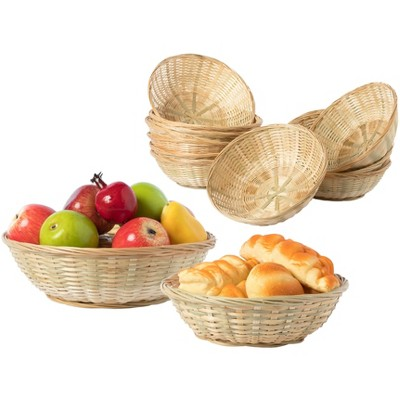 Vintiquewise Set of Round Bamboo Serving Wicker Bread Roll Baskets Display Tray