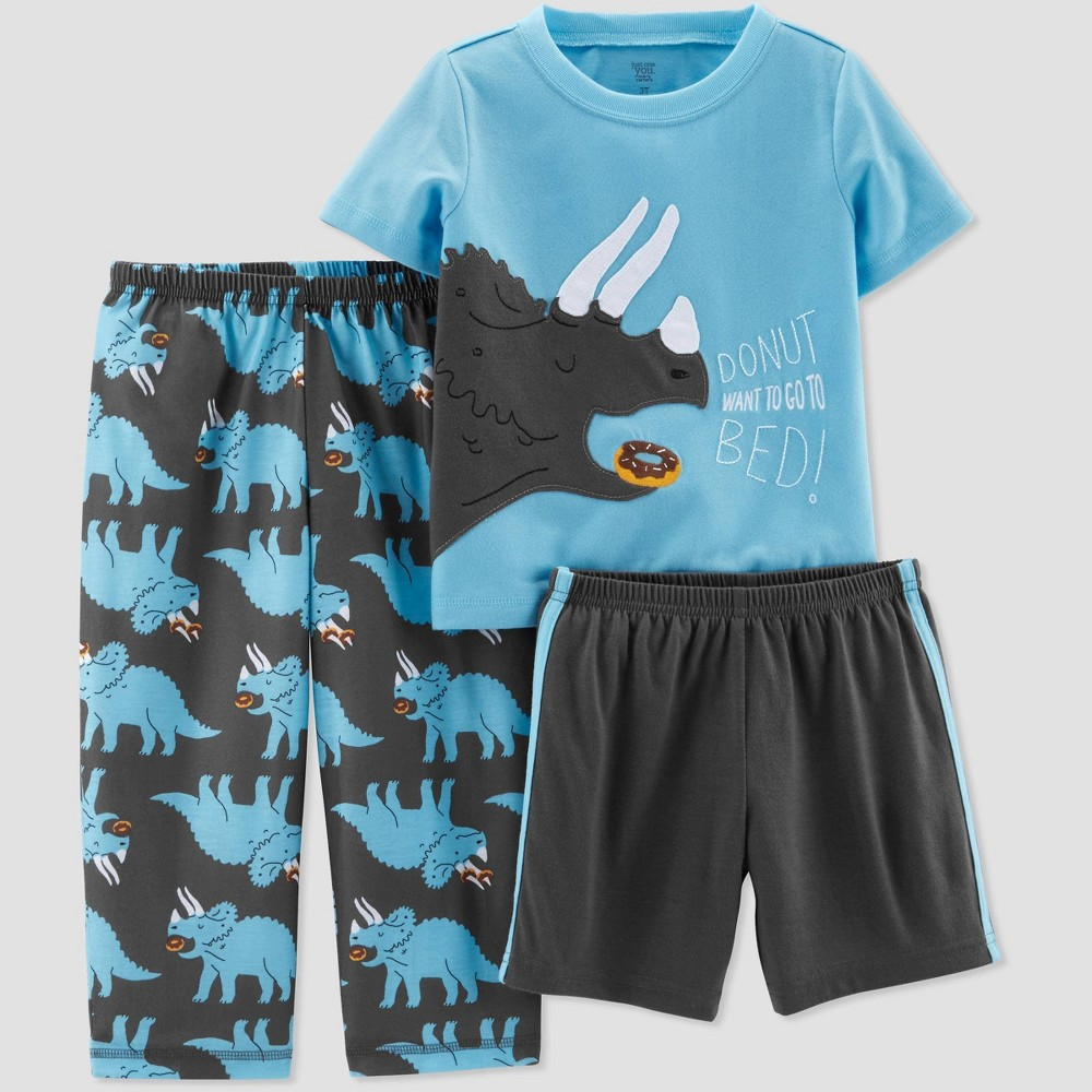 Toddler Boys' 3pc Poly Triceratops Pajama Set - Just One You made by carter's Blue/Gray 2T