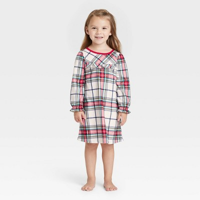 Toddler Holiday Plaid Flannel Matching Family Pajama NightGown - Wondershop™ White