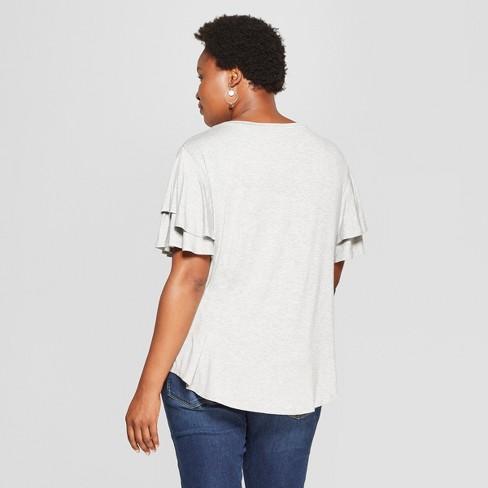 2a814770b7f Women s Plus Size Short Flutter Sleeve Top - Ava   Viv™ Light Heather Gray  4X   Target