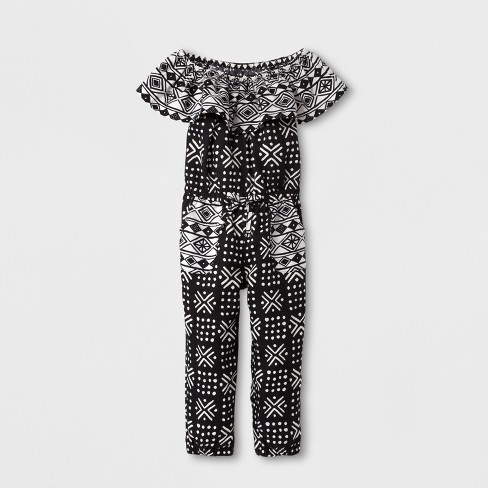 wide selection of colors great deals on fashion cheap sale Toddler Girls' Tribal Ruffled Jumpsuit Genuine Kids® from OshKosh -  Black/White 2T