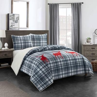 Stone Lake with Sherpa Appliques Comforter Set - Dearfoams