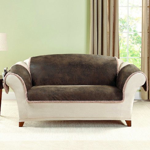 Brown Vintage Leather Loveseat Slipcover Sure Fit Target