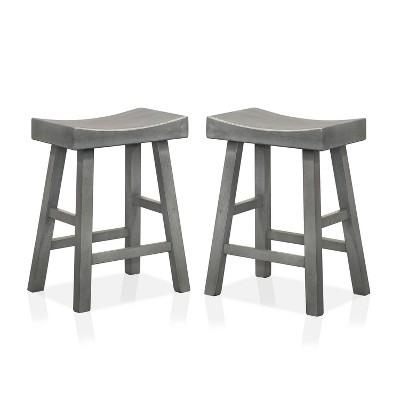 "Set of 2 24"" Lille Seat Height Saddle Stools - HOMES: Inside + Out"