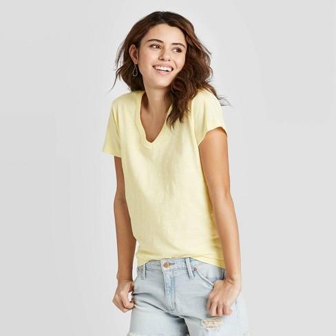 Women's Short Sleeve V-Neck T-Shirt - Universal Thread™ Yellow XS - image 1 of 3